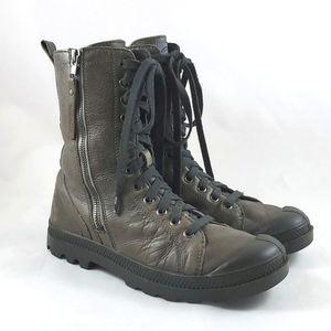 Palladium Women's Hi Rise Stone Leather Combat Hiking Boots Zipper